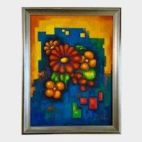 Elizabeth Kwaak Smischny (1936-1984) Retro Flowers Modernism Oil Painting