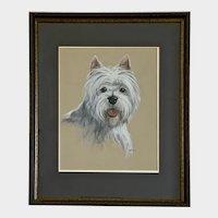 Becky Johnson, Portrait West Highland White Terrier Yorkie Dog Pastel Painting