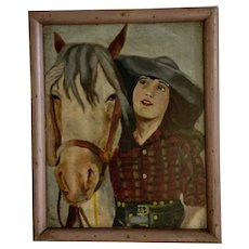 Circa 1930s Western Woman with Her Horse Oil Painting