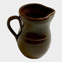 Miniature Brown Stoneware Pottery Pitcher Dollhouse Size Initialed By Artist CNC