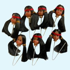 Vintage Native American Indian Doll Heads Set of 7