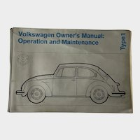 1972 Volkswagen Car Bug Owner's Manual Operation and Maintenance Book Type 1