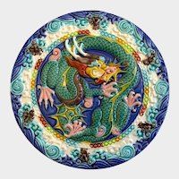 Chinese 5 Toed Dragon Tile Roundel Hand Painted Porcelain