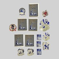 Vintage Christmas Foil Gummed Seals and Small Package Cards Group