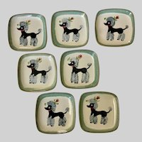 French Poodle Dog Plates Mid-Century Glidden Pottery of New York 7 Pieces