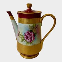 Vintage Coffee Pot Pitcher Hand Painted Pink Roses Signed Ernie Williams