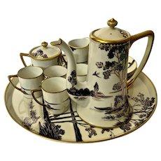Nippon Chocolate Pot Coffee Teapot Set Hand Painted  Japan 1911-1921