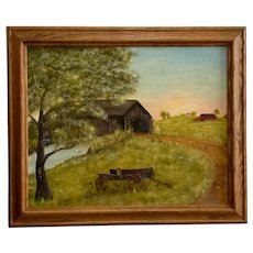 Landscape Old Country Wagon By Covered Bridge Oil painting