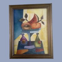 Gustavo Martinez Palos, Fruit Wine Still Life, Cubism Oil Painting