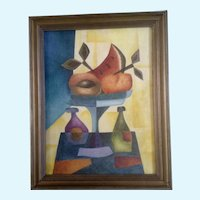 Gustavo Martinez Palos, Fruit Wine Still Life, Cubism Mexican Folk Art Oil Painting, Signed by listed Artist