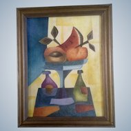 Gustavo Martinez Palos, Cubism, Fruit Compote With Wine, Mexican Folk Art Oil Painting on Canvas, Signed by listed Artist