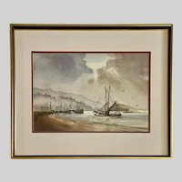 Dorothy Jane Clark, Fishing Boats Returning to Harbor Watercolor Painting