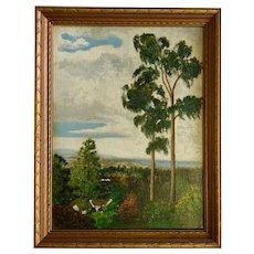 Louise Schwennesen, La Jolla Coastal View with Eucalyptus Trees Oil Painting