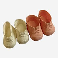 Vintage New York Doll Shoe Co. No. 5 Baby Shoes Soft Rubber