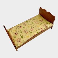 Vintage Baby Doll Wood Bed with Cute Cowboy Dog Mattress