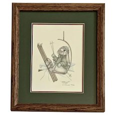 Susan (Sue) A. Rupp, (Chairlift) Chare Lift, Anthropomorphic Bunnies Ski Print