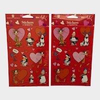 Vintage Opus N Bill Cartoon Valentine Stickers 1998 American Greetings