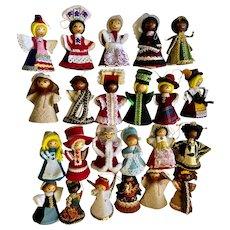 Vintage Christmas International Costume Doll Tree Ornaments Santa and Friends