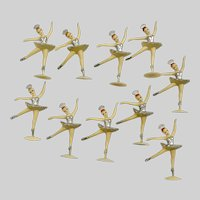 Vintage Ballerina Cake Toppers Silver Colored Tutu's Set of Ten
