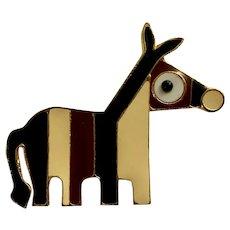 Vintage Adorable Donkey Enamel Gold-tone Brooch Pin