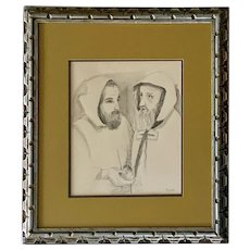 Buffington, Monks Talking Pen And Ink with Watercolor Painting