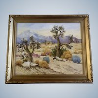Geoffrey Holt (1882 - 1977) Joshua Trees in Desert Oil Painting Signed by Listed Artist
