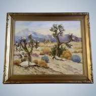 Geoffrey Holt  (1882 - 1977) Joshua Trees in Desert Bloom, Oil Painting on Board, Signed by Listed Artist