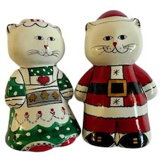 Christmas Mr. & Mrs. Santa Claus Cat Hand Painted Figurines