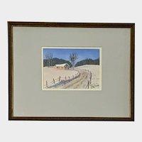 Ron Setter, Winter Landscape Watercolor Painting