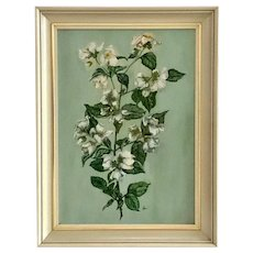Still Life Sprig of White Flowers Oil Painting