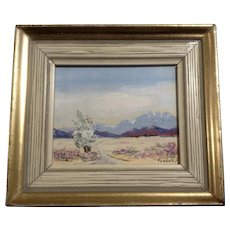 EM Fonder, Miniature Oil Painting Desert in Bloom With Mountain Vistas, Signed by Artist
