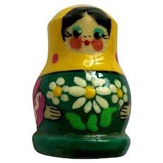 Thimble Russian Babushka Nesting Doll Wood Hand Painted