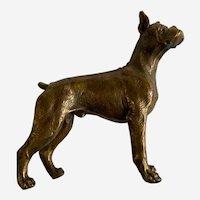 Standing Boxer Dog Paperweight Brass Sculpture