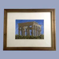 Rodgers Naylor, Trajan's Kiosk Philae Temple Oil Pastel Painting