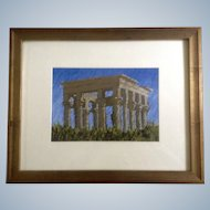 Rodgers Naylor, Trajan's Kiosk Philae Temple, Oil Pastel Landscape Painting, Works on Paper Signed by Artist