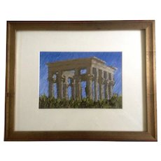 Rodgers Naylor, Trajan's Kiosk Philae Temple Oil Pastel Painting Signed by Artist