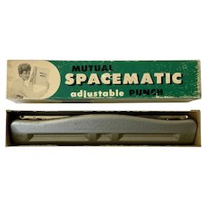 Mid-Century Adjustable 3 Hole Punch Mutual Spacematic Hand Punch 1950s