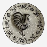 Bella Casa Ganz 3D Rooster Ceramic Black and White Plate
