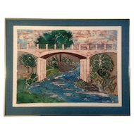 Cosette Russell, Original Batik Painting, Small Boy Fishing on 'Shore Creek Entering Town Lake Austin, Texas,' Signed by Artist