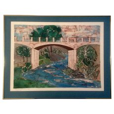 Cosette Russell, Boy Fishing Batik Painting Signed by Artist