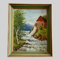 S Vogel, Waterwheel Mill House Mountain Landscape Oil Painting
