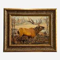 Arminda, Bull Elk Bugling Hunting Landscape Oil Painting