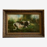 H L M Bates, Cow In Bucolic Field 19th Century Oil Painting