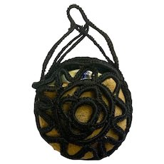 Antique Pocket Watch Leather Hand Knitted Case Pouch Great Grandmas