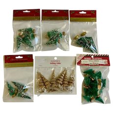 Small Christmas Trees for Holiday Crafts Glitter Flocked 37 PC