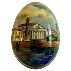 Russian Black Lacquer Hand Painted Egg