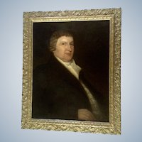 18th Century Colonial Judge American Portrait Antique Figural Oil Painting
