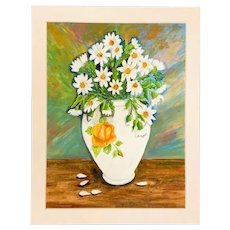 Floral Still Life White Daisies in a Peach Rose Vase Acrylic Painting
