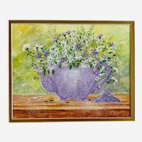 Vi Webb, Purple and White Teapot Blooms Mixed Media Watercolor Painting