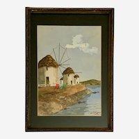 Windmills on Mykonos Mediterranean Coast Seascape Watercolor Painting